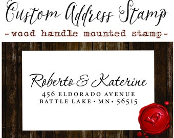 RETURN ADDRESS STAMP wood handle mounted rubber stamp - style 1172C