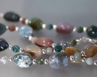 """Gemstone Necklace -  Fancy Jasper - 24"""""""