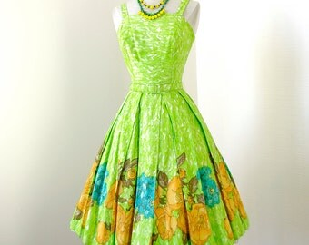 vintage 1950's dress ...gorgeous hand detailed Alexander Lipton by SYDNEY GARR cotton floral watercolor full skirt pin-up dress
