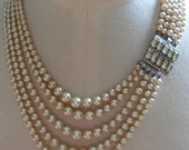 Five Strand Asymmetrical Pearl Necklace REDUCED PRICE