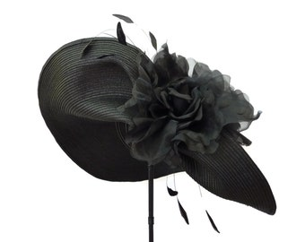 "Women's Kentucky Derby Hat, Spring Fashion Hat, Garden And Tea Party Hat In Black Is  - ""NOT for the SHY"""