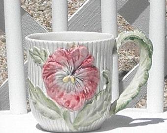 Pink Pansy Flower Mug Cup Vintage