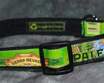 Adjustable Dog Collar from recycled Sierra Nevada Pale Ale Beer Labels