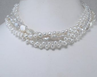 White Pearls Sparkly Crystal MultiStrand White Pearl Torsade Multistrand Pearls Bridal Pearls Twisted Strands Sparkly Bead White Coin Pearls