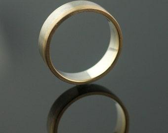 Asymmetrical Bi Color Medium Weight // Palladium + 14k Yellow Gold Band by VK Designs
