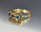Antique Sapphire Engagement Ring, 14K Gold Victorian Sapphire Ring, Enamel Natural Sapphire Three Stone Ring, Stacking Ring, Fine Jewelry