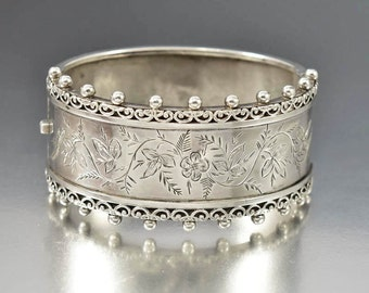 Victorian Engraved Sterling Bracelet, Antique Forget Me Not Flower Bangle, Love Token Wedding Bridal Gift, Wide Cuff Bracelet, Anniversary