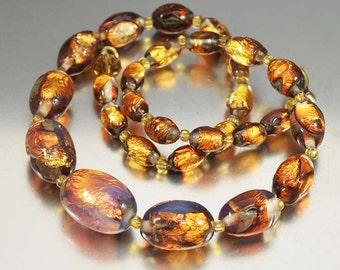 Fire Opal Necklace, Art Deco Necklace, Opalescent Gold Foil Glass Beaded Necklace, Antique Jewelry Vintage 1920s Art Deco Jewelry, Czech