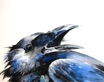 Crow Watercolor Painting, Original Watercolor, Bird Painting