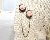 Sweater Clip Pastel Pink Rose on Fancy Filigree and Delicate Chain Shrug Clasp Multiple Colors