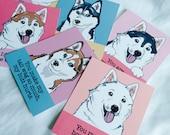 Husky Valentines - Mini Eco-friendly Set of 6