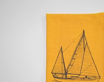 Linen Towel - Sailboat Tea Towel - Choose your fabric and ink color