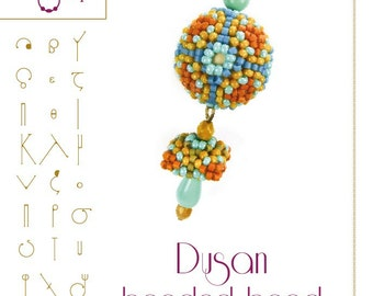 Beading tutorial / pattern Dusan beaded bead. Beading instruction in PDF – for personal use only