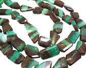 Chrysoprase Beads, Chrysoprase Nuggets, Freeform Nuggets, Bi Color Chrysoprase, 17mm x 25mm, SKU 4394A