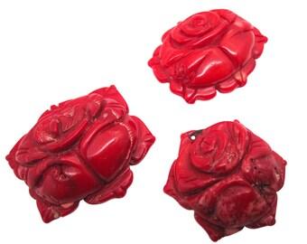 Red Coral Pendant, Carved Coral Pendant, Carved Coral Flower Pendant, Red Gemstone, Coral Pendant,  Loveofjewelry, SKU 3649