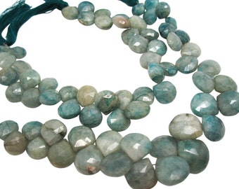 Aqua Blue Quartz Beads, Aquamarine Quartz Faceted Briolettes, SKU 4348A
