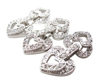 Heart Clasp, 18K White Goldplated Fold Over Clasp, Cubic Zirconia Clasp, Silver Plated Clasp, 28mm x 14mm x 5mm, SKU 5074