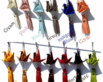 Genuine Leather Origami Crane Tassel - Zipper Pull Tassel - Purse Tassel - Key Chain Tassel