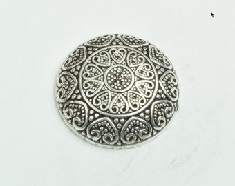 Button , flat back antique silver finish,  30mm sold 3 per package 09502AS