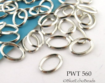 Oval Pewter Jump Ring Connector Closed 9 x 7mm (PWT 560)  50 pcs BlueEchoBeads