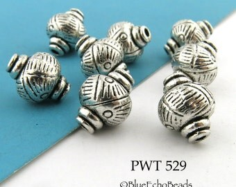 11mm Pewter Spacer Beads with Grid Design Antique Silver (PWT 529) 8 pcs BlueEchoBeads
