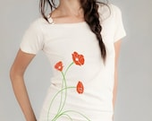 Clearance Sale Poppies Flower T-shirt, Women's Organic T-shirt, Natural, Red Poppy, Green, Gift for her