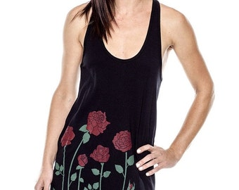 CLEARANCE SALE Red Rose Dress, American Apparel Black Racerback Tank Dress, Roses, Gift for Her