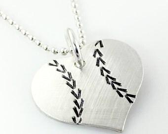 I Love Baseball – Sterling Silver Baseball Heart Necklace – hand stamped | baseball gift