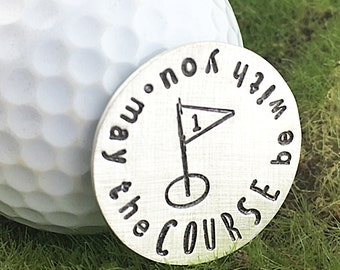 May the Course Be With You hand stamped sterling silver golf ball marker