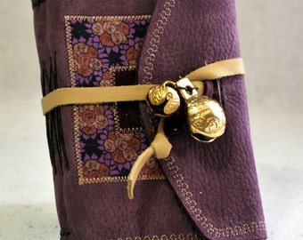 Small Purple Leather Journal with Bells