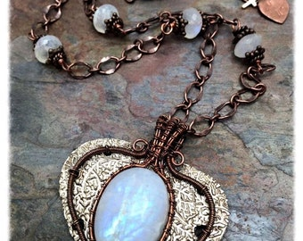 Boho Cowgirl Rainbow Moonstone Pendant,Free Shipping, Christmas Gift, Set in the Purest Silver & Copper Wire Wrapped Necklace, Ready to Ship