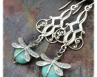 Silver Dragonfly Gemstone Chandeliers Earrings in Antique Silver and Peruvian Opal, Ready to Ship