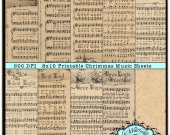 Christmas Music Sheets, Christmas Carol Printables, Christmas song paper Digital  8x10 Vintage Joyeux Noel Red, and Green