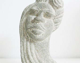 Art Deco stone carved bust of a woman /Dutch modernist stone sculpture/ vintage 1940s woman figure