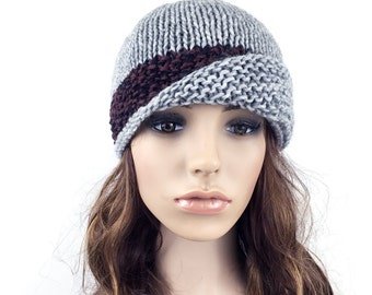 Hand knit hat woman hat Fold band hat grey hat contrast band wool hat-ready to ship