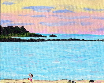 Nautical Wall Art, Original Painting, York Beach, Maine, 6x6""