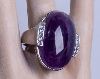 Modern Sterling Amethyst Ring - BIG Raw Gemstone - sz 9