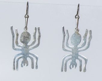 Sterling Hammered Earrings - Black Widow Spiders