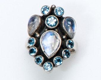 Moonstone & Topaz Ring - Sterling Nicky Butler Ring - Retired Design - sz. 7