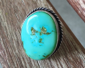 BIG Early Navajo Ring - 40s/50s Turquoise  - sz 7 1/4