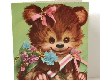 Vintage Unused Get Well Card, Bear Card, Vintage Precious Pets Card, Vintage Bear, Large Get Well Card, Retro Get Well Card, Coby Cards