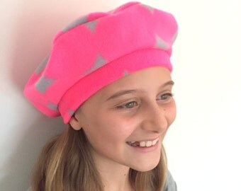 Children Hat, Children Beret, Baby Beret, Girl Beret, Girl Hat, Neon Pink Hat, Fleece Hat, Winter Hat, Girl French Beret, Soft Baby Hat,