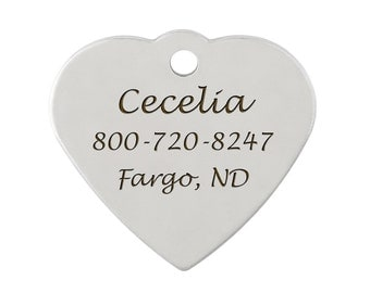 Double Sided Heart Dog ID Tags