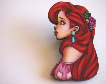 Ariel - The Little Mermaid - Laser Cut Wood Brooch