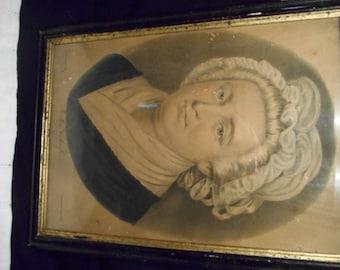 Original Currier & Ives Print Portrait of Martha Washington,