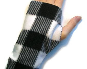 LADIES Fingerless Gloves / Mittens Warmers Fleece - Black and White Checked