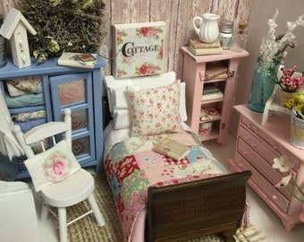 Dollhouse Miniature  Cottage style Quilt, Mattress, Lace Edged Sheet, Ruffled Pillowcases and Sleigh Bed- 1:12 scale