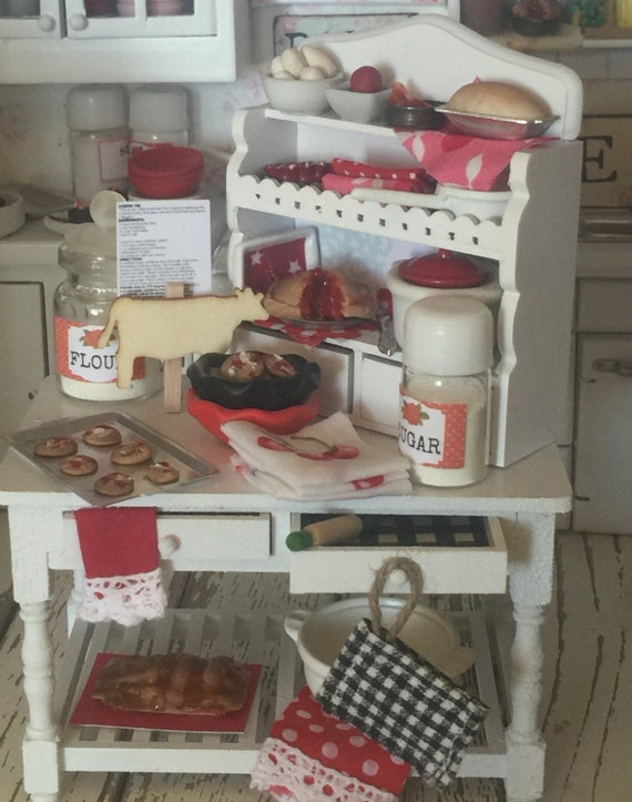 Miniature Pie and Cookies Prep Table and Cupboard Dollhouse Miniature-1:12 scale furniture