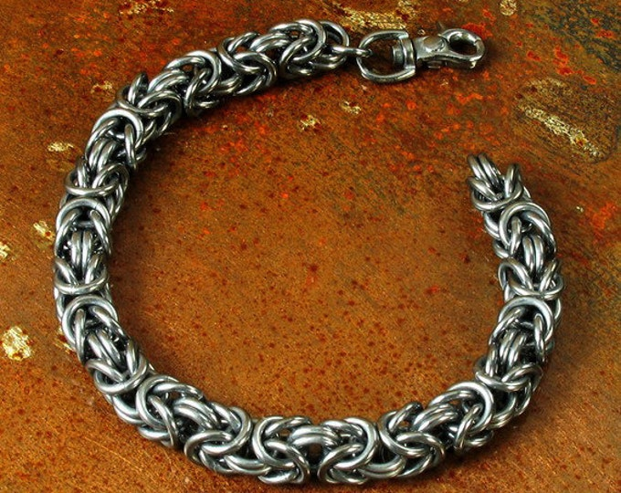 Custom Hand Woven Men's Byzantine Bracelet in Antiqued Sterling Silver // Gifts for Him // Father's Day // Dad // Everyday Bracelet