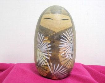 Vintage Japanse Kokeshi Doll Egg Shape Signed Wooden Wood Japan Doll